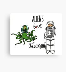 Aliens love Astronauts Metal Print