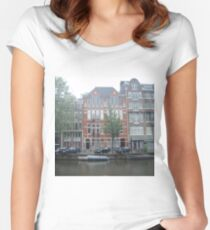 Picturesque Netherlands Cottage Women's Fitted Scoop T-Shirt