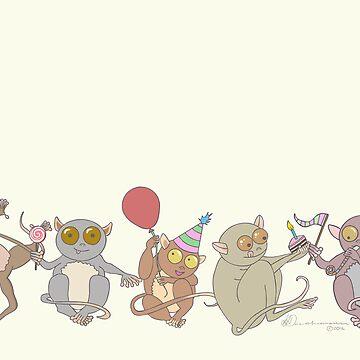Party Tarsiers by leeleeandthebee