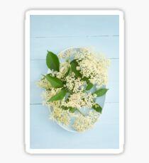 Elderflowers on a blue plate Sticker