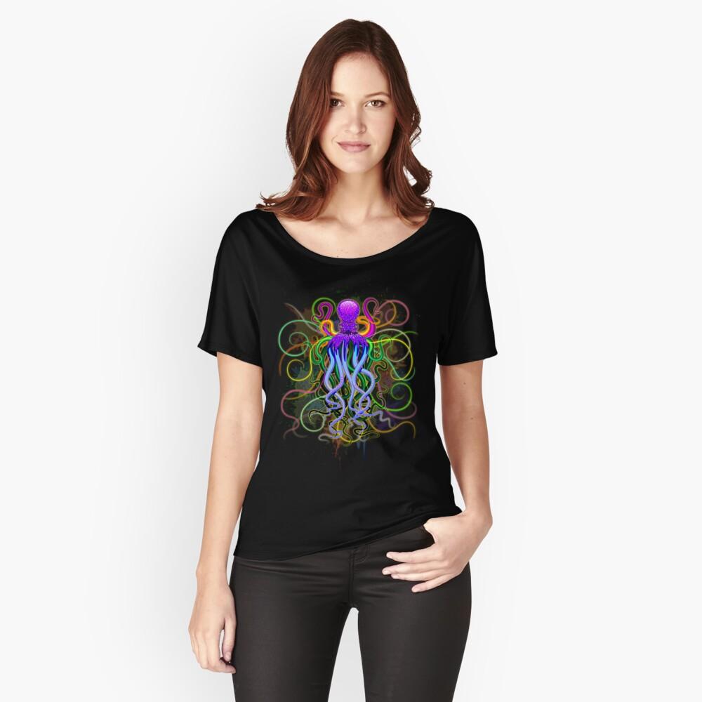 Pulpo de luminiscencia psicodélica Camiseta ancha