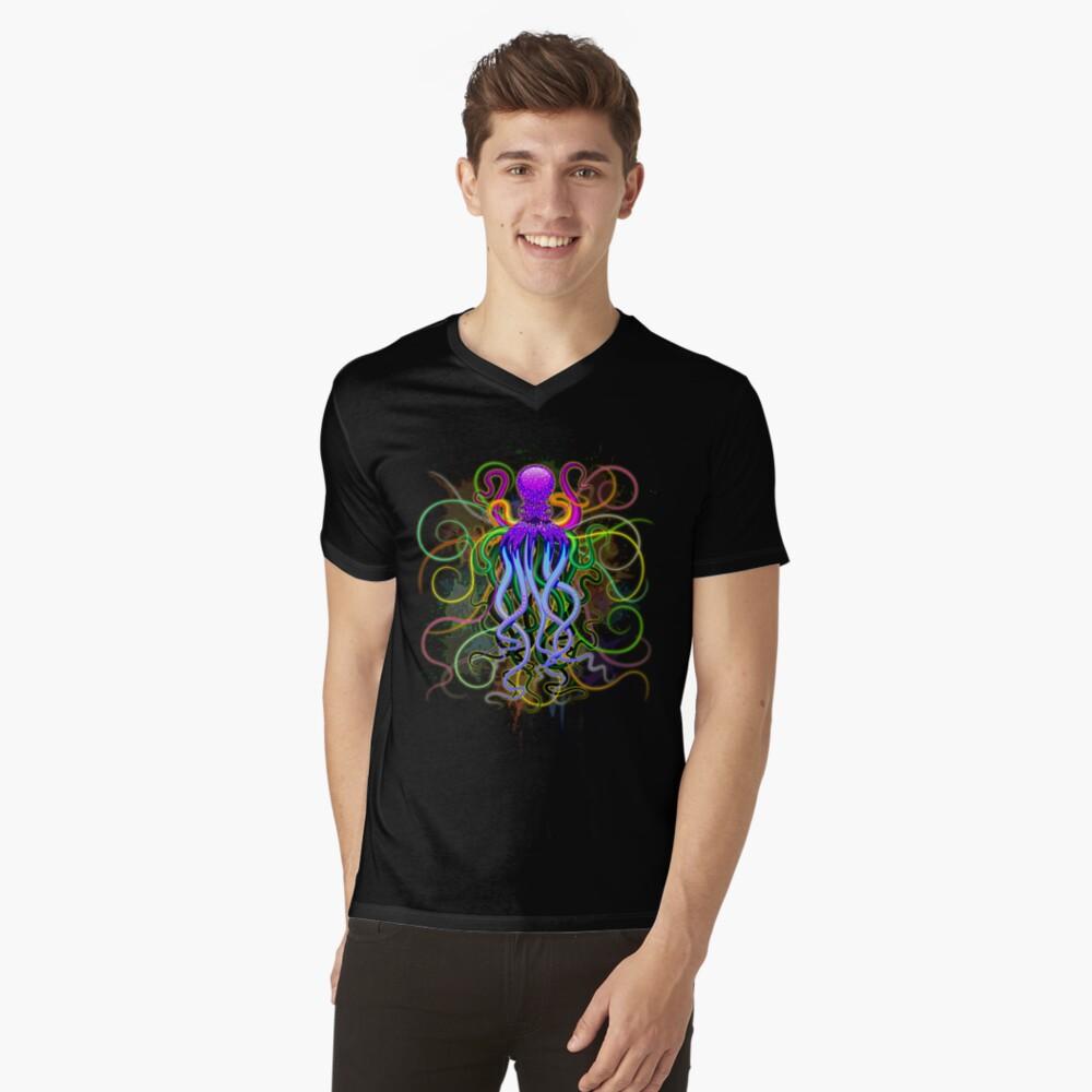 Pulpo de luminiscencia psicodélica Camiseta de cuello en V