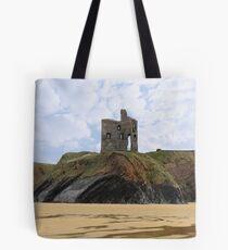 old castle cliff ruin ballybunion Tote Bag