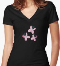 Faded Fluttershy Cutie Mark Women's Fitted V-Neck T-Shirt