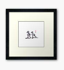 "print of original painting Japanese sumi-e ""Two duckling friends"" Framed Print"