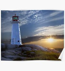 Sunset at Peggys Cove Lighthouse in Nova Scotia  Poster