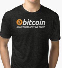 Camiseta de tejido mixto Bitcoin In Cryptography Trust