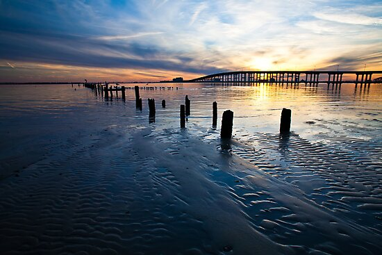 Low Tide Biloxi Bay Sunset by Jonicool