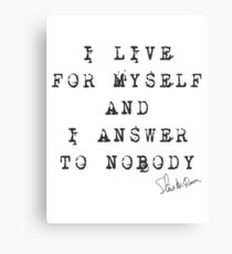 """Steve McQueen: """"I live for myself and I answer to nobody"""" Canvas Print"""