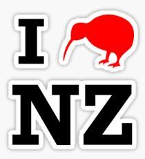 I Love New Zealand (Kiwi) white design Sticker