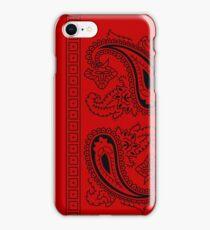 Red and Black Paisley Bandana   iPhone Case/Skin