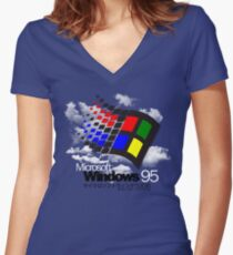 WINDOWS 95 Fitted V-Neck T-Shirt
