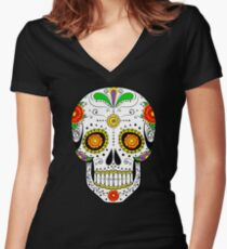 Calavera  Women's Fitted V-Neck T-Shirt