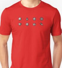 Pokemon Badges Original - Red and Blue Unisex T-Shirt