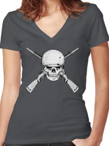 WW II M1 Carbine Jolly Roger Women's Fitted V-Neck T-Shirt