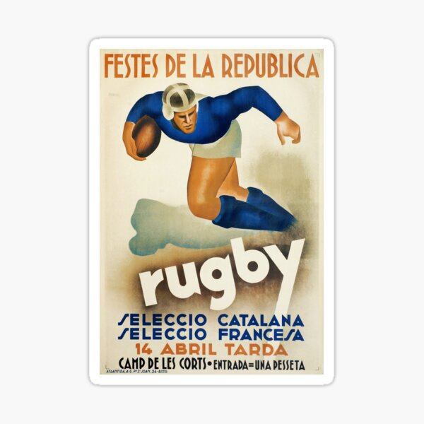 Vintage Art Deco Spanish Rugby sport travel poster  Sticker