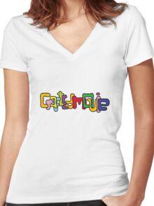 CraftedMovie's logo Women's Fitted V-Neck T-Shirt