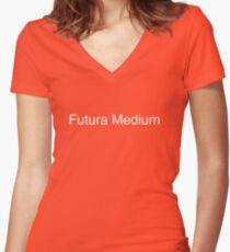 Futura Medium (white) Women's Fitted V-Neck T-Shirt