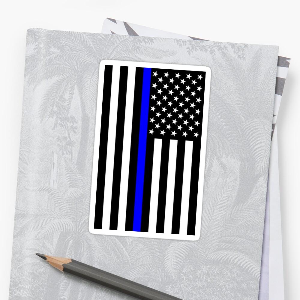 The Symbolic Thin Blue Line on US Flag by Garaga
