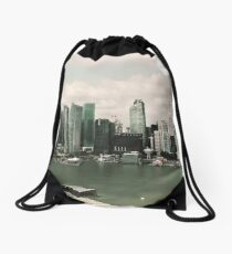 Singapore skyline as viewed from the Marina Bay Sands Hotel Drawstring Bag