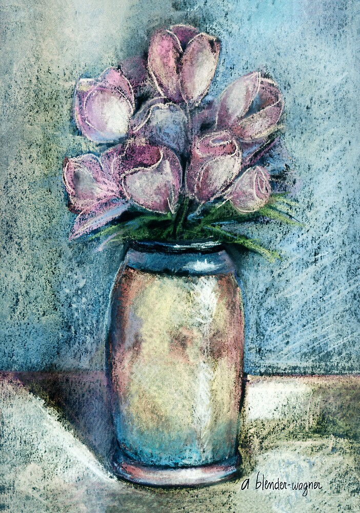 Vase Of Pink Tulips by arline wagner