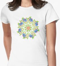 Maine Blueberry Gingham Mandala Women's Fitted T-Shirt