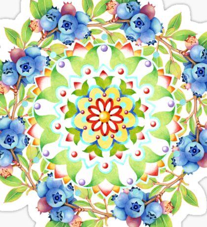 Maine Blueberry Gingham Mandala Sticker