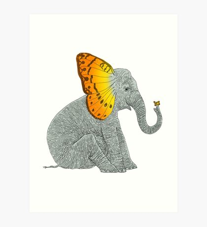 Elephant and Butterfly Art Print