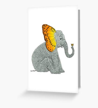 Elephant and Butterfly Greeting Card