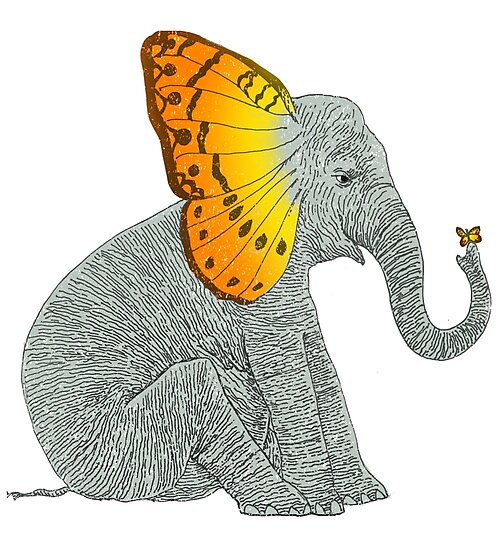 Elephant and Butterfly by SusanSanford