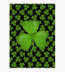 Irish Shamrocks on Black Photographic Print