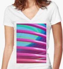 Rainbow Slinky 9 Women's Fitted V-Neck T-Shirt