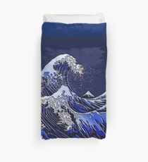The Great Hokusai Wave chrome carbon fiber styles Duvet Cover