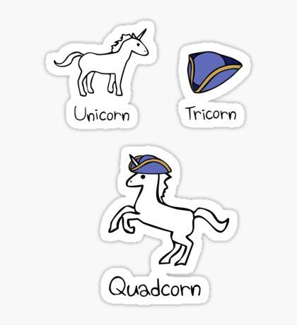 Unicorn + Tricorn = Quadcorn Sticker