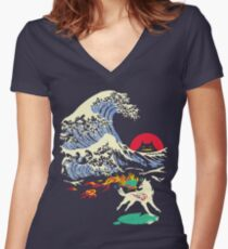 The Great Wave off Oni Island Women's Fitted V-Neck T-Shirt
