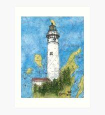 S Manitou Island Lighthouse MI Nautical Chart Peek Art Print