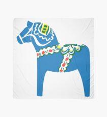 Swedish trad. blue Dalhäst - Dala horse  Scarf
