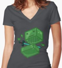 Slaying a slime Women's Fitted V-Neck T-Shirt