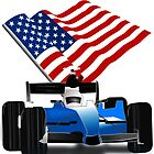 Blue Race Car with American Flag  by Gravityx9