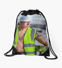 Working the walkways of the Thames in London with Ash Drawstring Bag