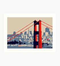 Golden Gate Bridge and skyline  Art Print