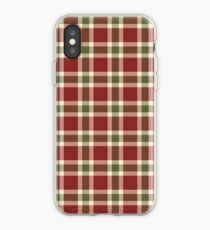 Chic burgundy green christmas plaid tartan iPhone Case