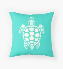 Tribal Sea Turtle Turquoise and Ivory Throw Pillow