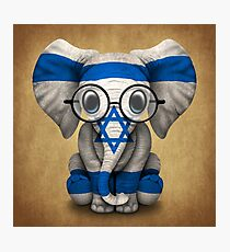 Baby Elephant with Glasses and Israeli Flag Photographic Print