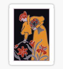 Lady with flowers modern art nouveau Sticker