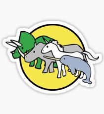 Horned Warrior Friends pattern (unicorn, narwhal, triceratops, rhino) Sticker