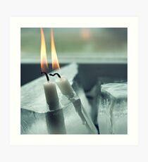 Frozen Lit Candles Art Print
