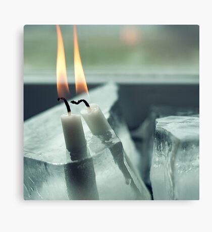 Frozen Lit Candles Canvas Print