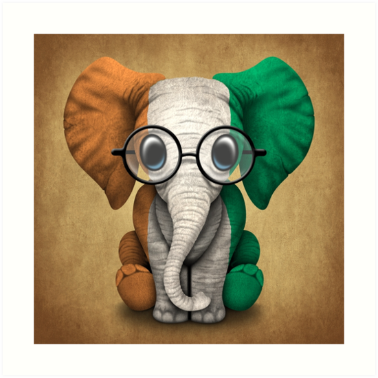 baby elephant with glasses and ivory coast flag by jeff bartels