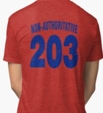 Team shirt - 203 Non-Authoritative, blue letters Tri-blend T-Shirt